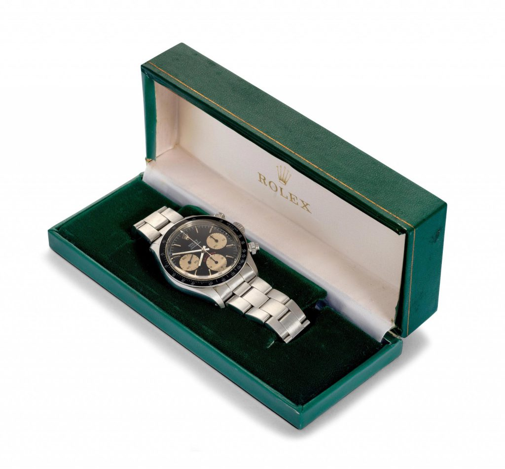 ROLEX COSMOGRAPH DAYTONA, ca. 1985. Stainless Steel. In original box. Sold for € 29,820 at Koller