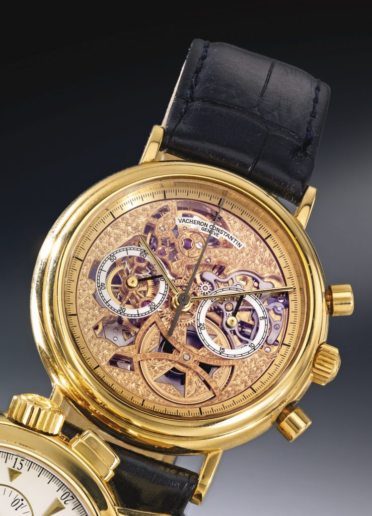 Vacheron Constantin, Skeletonized Chronograph Wristwatch with reference, c. 1991. Sold for $ 16,250 at Sotheby's