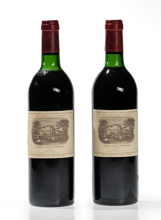 Château Lafite-Rothschild, 2 bottles, 1982 vintage, Top Shoulder/Base of Neck, Sold for € 3,600 at Auctionata