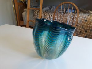 chihuly glass bowl blue