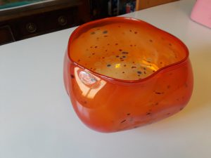 chihuly glass bowl orange
